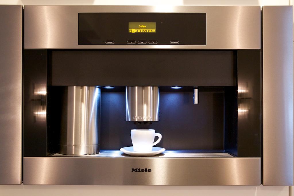 espresso machine built into wall